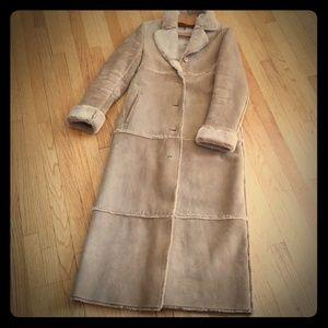 Jackets & Blazers - Genuine Leather Long Shearling style Coat Sz Med